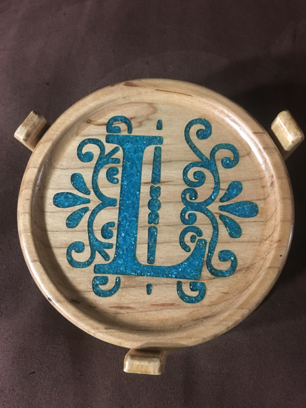 Crushed Gemstone For Inlays : Wood coaster